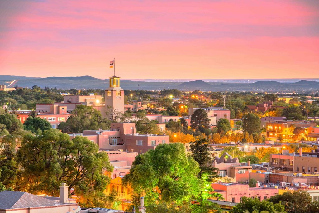 picture of downtown santa fe skyline at dusk