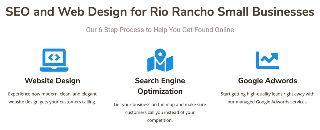 example snapshot of the Digital Harvest Rio Rancho web page showcasing use of different h2 and h3 headings for SEO purposes