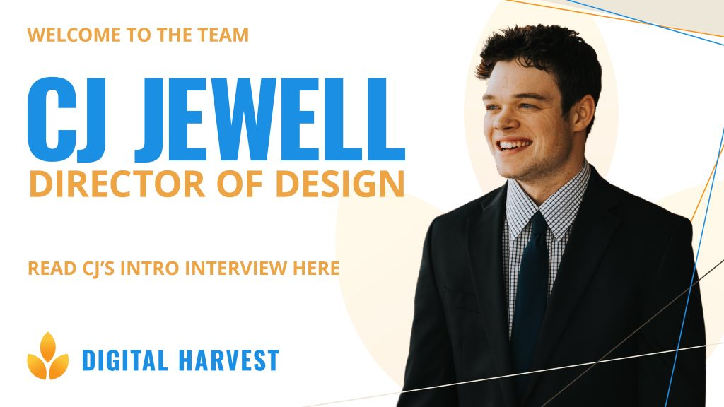 banner introducing Chris Jewell as new lead designer at Digital Harvest